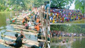 ফরিদপুরে গ্রাম বাংলার ঐতিহ্যবাহী ভেলা বাইচ অনুষ্ঠিত